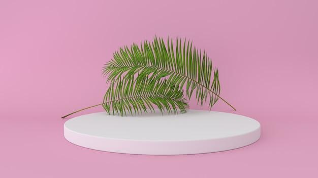 Plateforme abstraite avec feuille de palmier
