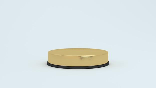 Plateformes abstraites de rendu 3d avec partie dorée. podium réaliste
