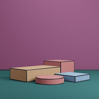 Plateformes colorées de podium géométrique pour la présentation d'affichage de produit sur fond vert et violet