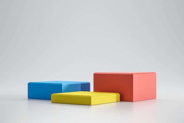 Plates-formes colorées sur fond blanc