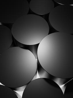 Plates-formes cylindriques noires monochromes sur fond de caisson lumineux pour la beauté électronique et les soins de la peau