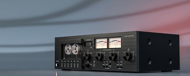 Platine enregistreur à cassette magnétique stéréo vintage - rendu 3d