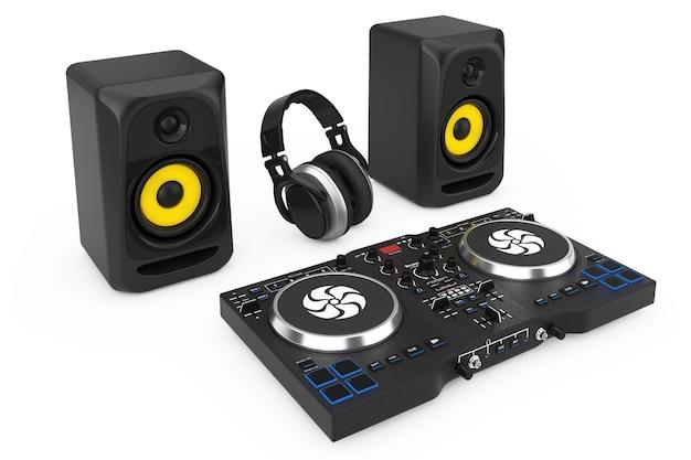 Platine de mixage dj avec haut-parleurs et casque sur fond blanc. rendu 3d