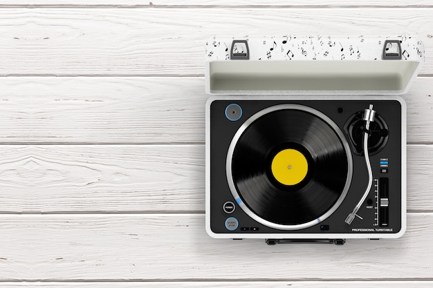 Platine Vinyle Portable De Style Vintage Dans Un Boîtier Blanc Sur Une Table En Bois. Rendu 3d Photo Premium