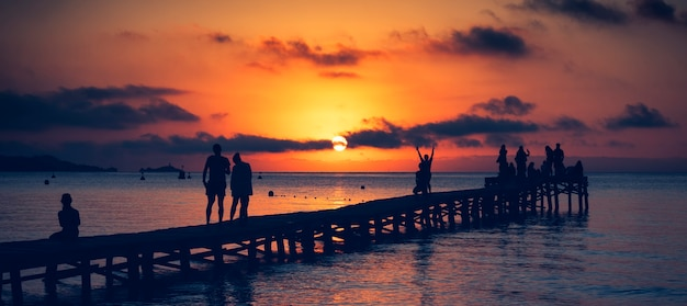 Playa de muro au lever du soleil, majorque, espagne