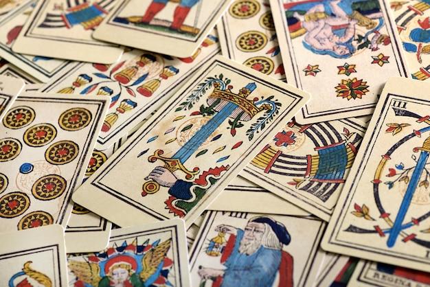 Plein cadre de cartes de tarot