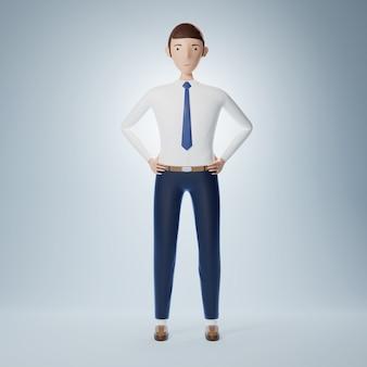 Plein de confiance, stand d'homme d'affaires de personnage de dessin animé. illustration 3d