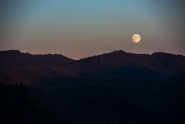 Pleine lune au coucher du soleil