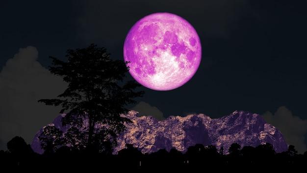 Pleine lune rose et arbre sur la montagne silhouette sur le ciel nocturne, éléments de cette image fournis par la nasa