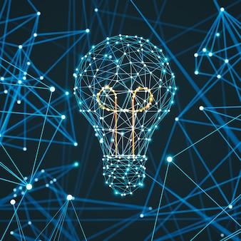 Plexus abstrait en forme d'ampoule, symbole de l'énergie et de l'idée blackground, rendu 3d.