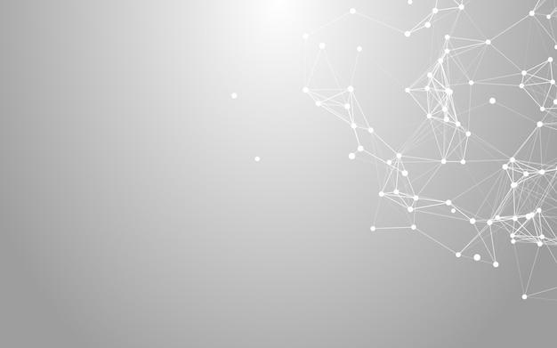 Plexus, fond blanc abstrait polygonale espace low poly avec points et lignes de raccordement.