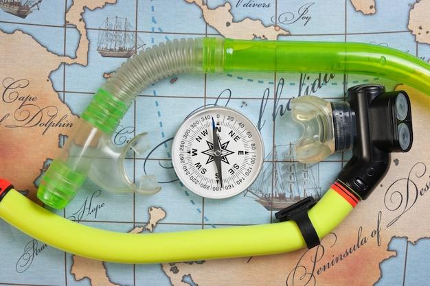 Plongée avec tuba sur la carte