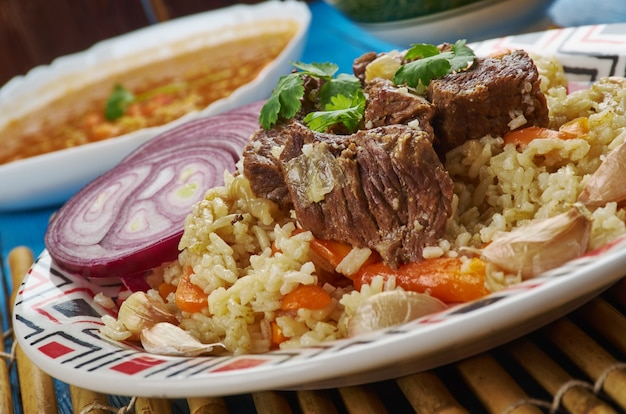 Plov tograma - pilav traditionnel ouzbek, gros plan