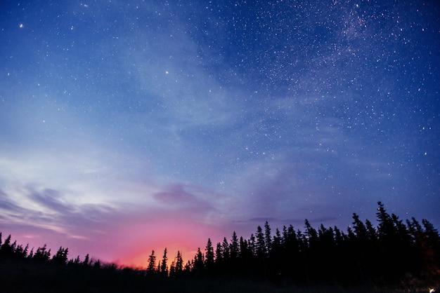 Pluie de météores d'hiver fantastique et montagnes dans la brume