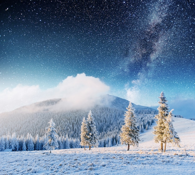 Pluie de météores d'hiver fantastique et les montagnes enneigées