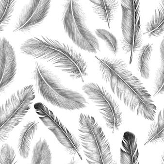 Plume de dessin à main levée d'oiseaux de plumes. modèle sans couture tribal. isolé sur fond blanc dans un style graphique.