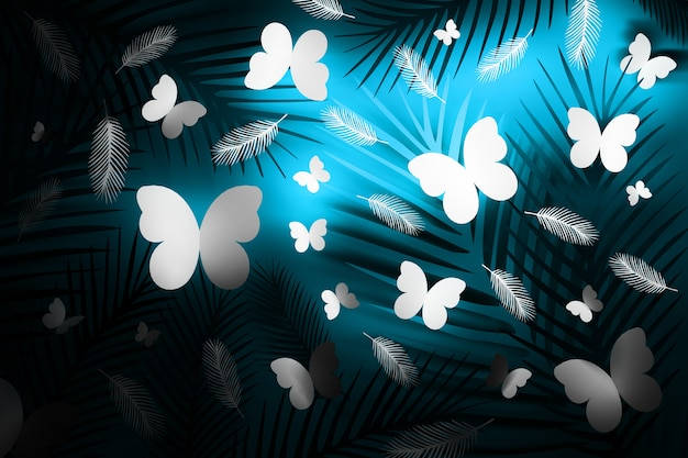 Plumes tropicales et papillons bleu néon