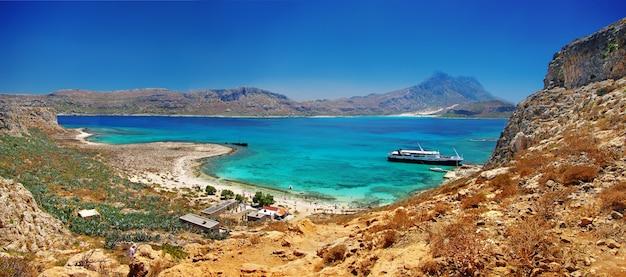 Les plus beaux endroits et plages de l'île de crète - baie de balos (gramvousa). grèce