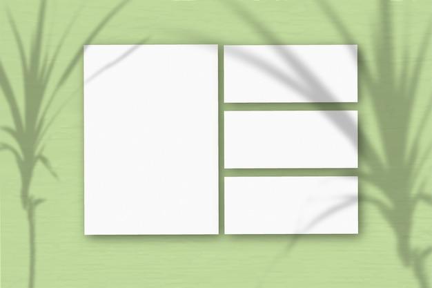 Plusieurs feuilles horizontales et verticales de papier texturé blanc sur fond de mur vert clair. la lumière naturelle projette les ombres d'une plante tropicale. mise à plat, vue de dessus. orientation horizontale