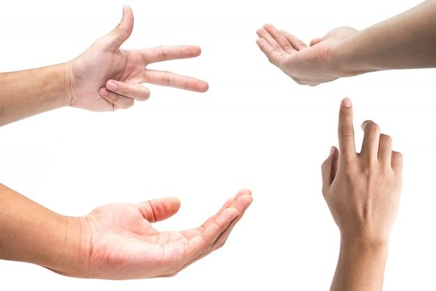 Plusieurs gestes de la main masculine isolés sur fond blanc