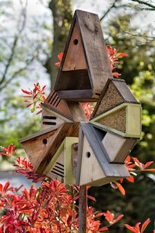 Plusieurs nichoirs et une mangeoire pour oiseaux sur un bâton