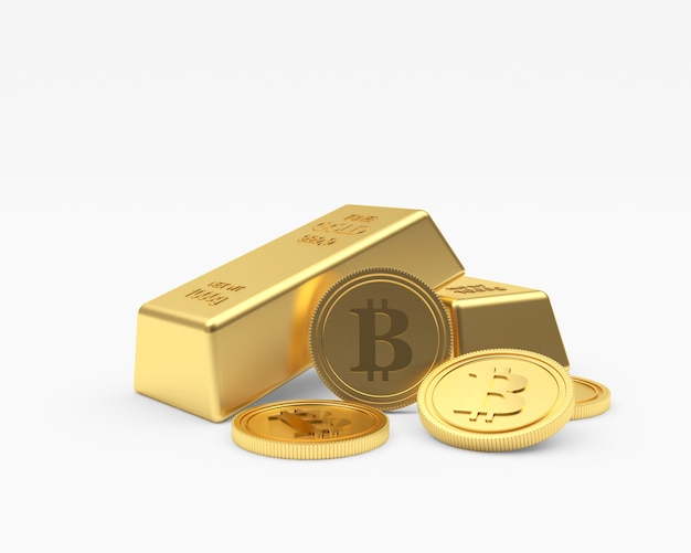 Plusieurs pièces de monnaie bitcoin avec des lingots d'or