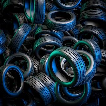Pneus avec feux verts et bleus, image de rendu 3d.