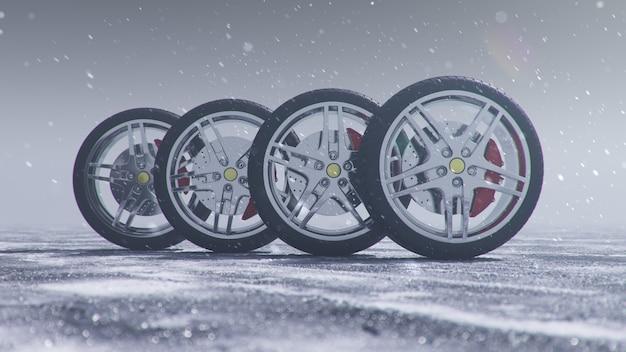 Pneus d'hiver sur fond de tempête de neige, chutes de neige et route d'hiver glissante. concept de sécurité routière hiver
