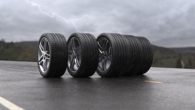 Pneus de voiture de rendu 3d roulant sur l'asphalte humide sous la pluie avec un orage en 4k