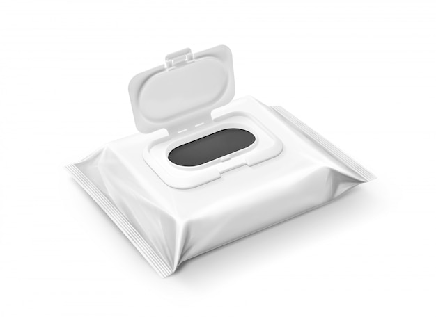 Pochette de lingettes humides emballage vide isolé