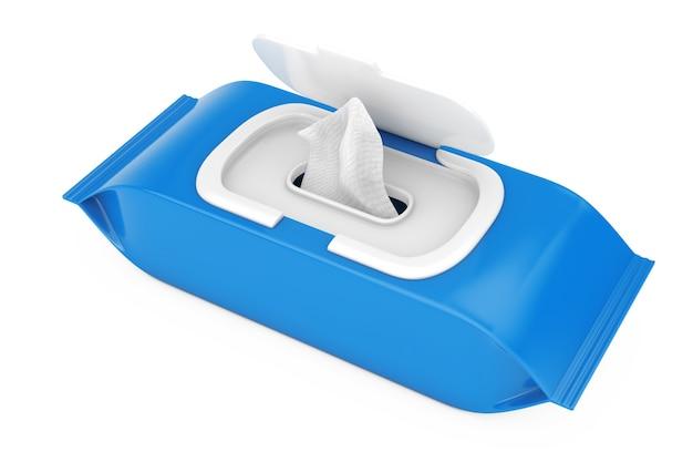 Pochette de lingettes humides en papier d'emballage vierge bleu sur fond blanc. rendu 3d