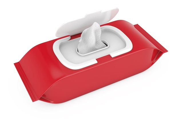 Pochette de lingettes humides en papier d'emballage vierge rouge sur fond blanc. rendu 3d