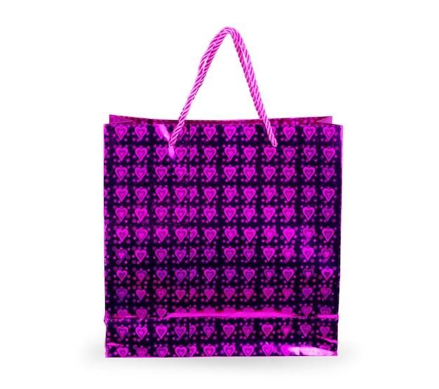 Pochette en plastique rose vierge sac à café isolé sur fond blanc. collection de maquettes de modèles d'emballage