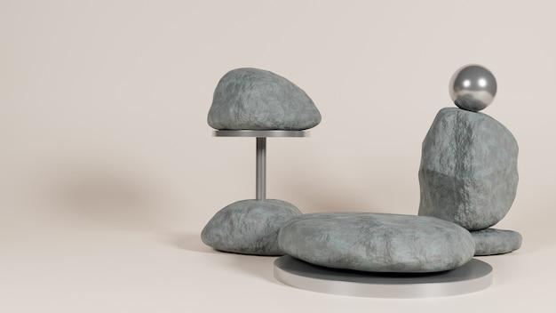 Podiu simple en pierre métallisée naturelle
