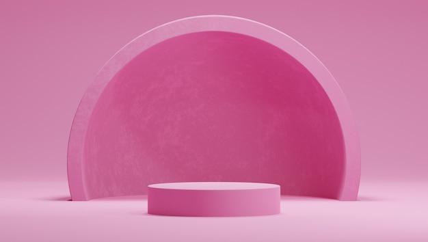 Podium en 3d de couleur rose bonbon avec hémisphère ou arc sur fond rose.