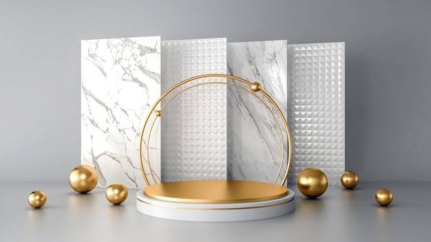Podium abstrait blanc avec des formes géométriques dorées