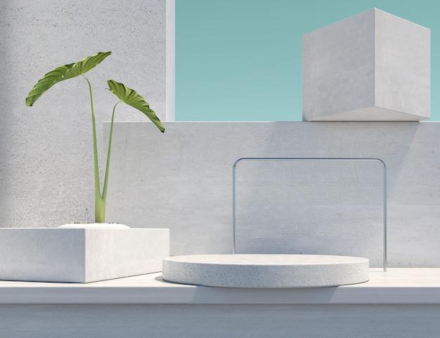 Podium abstrait en marbre avec plante