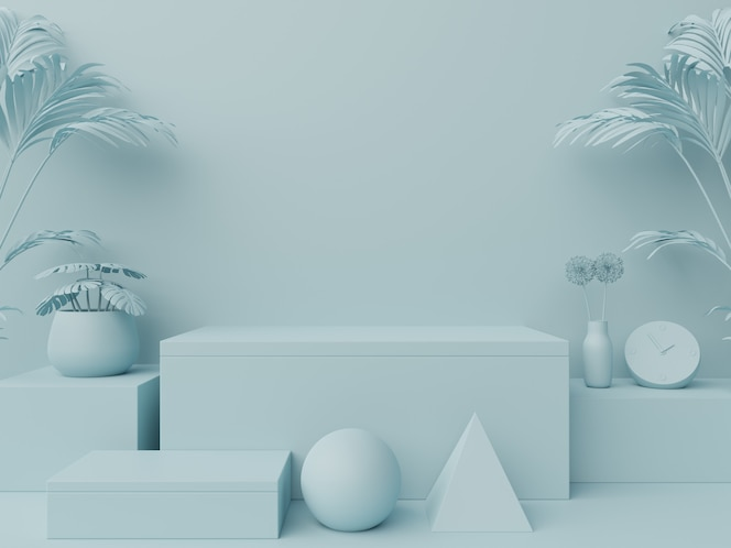 Podium abstrait pour placer des produits et pour placer des prix avec du bleu.