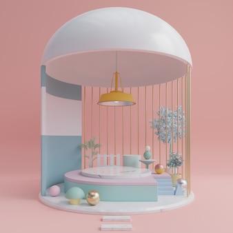 Podium abstrait pour placer des produits et pour placer des prix avec du rose.