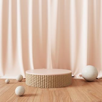 Podium abstrait avec des rideaux roses et des sphères