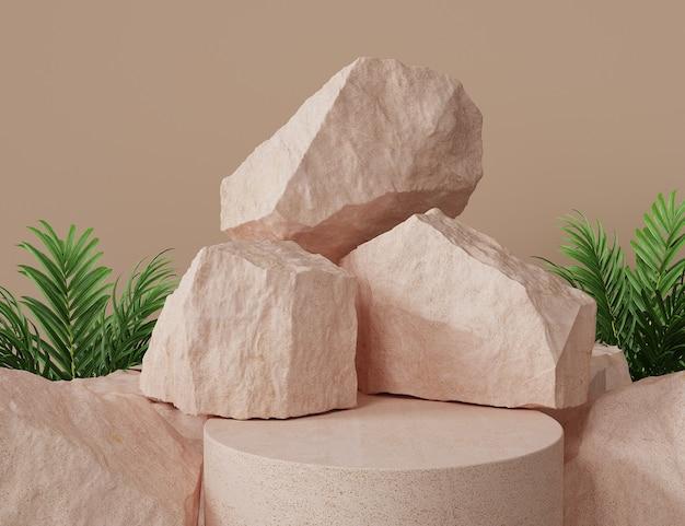 Podium abstrait avec des roches et des plantes
