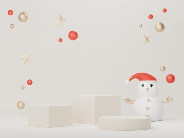 Podium d'affichage 3d pour la présentation de produits et de cosmétiques avec le concept de noël et de bonne année