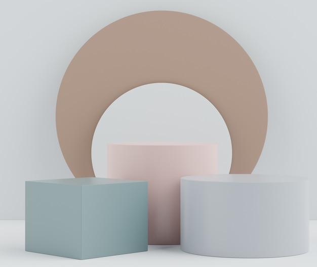 Podium d'affichage 3d avec scène de tons de terre pour les produits cosmétiques d'exposition