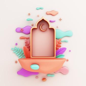 Podium d'affichage abstrait islamique avec croissant de fenêtre arabe