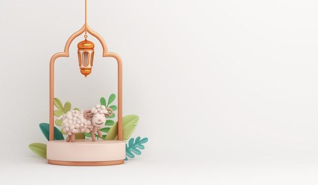 Podium d'affichage de décoration islamique de l'aïd al adha avec croissant de lanterne arabe de mouton de chèvre