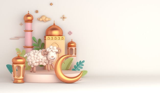 Podium d'affichage de décoration islamique de l'aïd al adha avec mosquée de croissant de lanterne arabe de mouton de chèvre