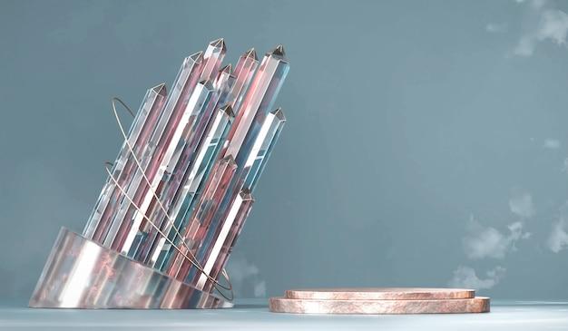 Podium d'affichage de produit d'or abstrait avec rendu 3d de groupe de cristal