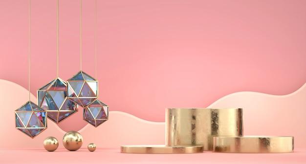 Podium d'affichage de produit d'or avec rendu 3d de fond de cristal