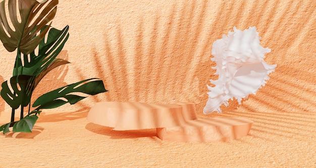 Podium d'affichage de produit en pierre avec des feuilles de nature ombre sur fond marron. rendu 3d