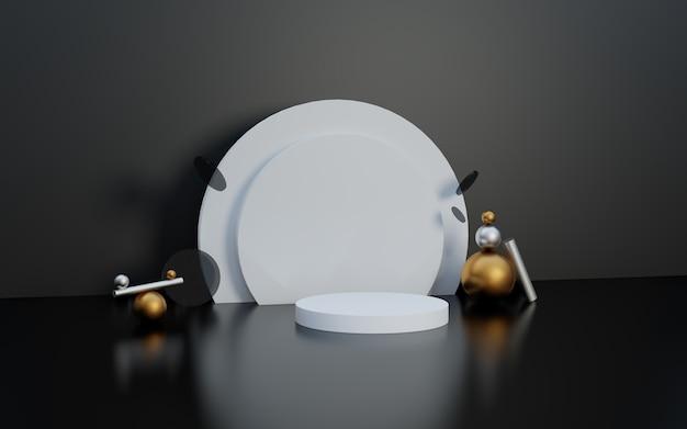 Podium d'affichage de produits haut de gamme en noir et blanc